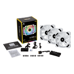 Corsair LL120 RGB 120mm Dual Light Loop RGB LED PWM Fan - 3 Fan Pack with Lighting Node PRO White